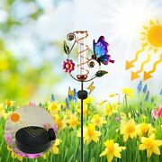 With Replacement Glass Tube Garden Solar Powerded Butterfly Rain Gauge