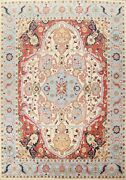 Ivory Geometric Heriz Serapi Oriental Area Rug Hand-knotted Large Carpet 10and039x12and039