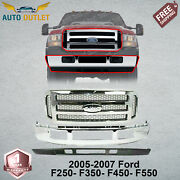 New Chrome Front Bumper + Grille + Low Valance For 05-07 Ford F250 F350 F450-sd