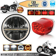 Black 7inch Round Led Headlight With Halo Drl And Red Tail Rear Light Turn Signal