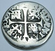 1652 Spanish Segovia Silver 1/2 Reales Antique 1600s Colonial Cross Pirate Coin