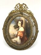 Rare Antique French Miniature Oil Painting Artist Signed Bronze Ormolu Frame
