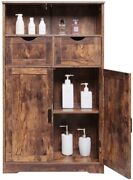 Large Storage Cabinet 2 Shelves And Adjustable Drawers 2 Cupboard Rustic Brown