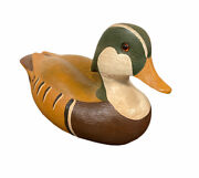 Vintage Wooden Duck Decoy Lm 85 Beautiful Hand Painted Wood Carved