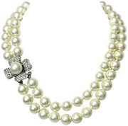 Kenneth Jay Lane, 18 Inch 2 Row Light Cultura 12mm Pearl Necklace With Rhine...