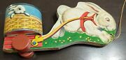 Vintage 1948 Fisher Price Wood Easter Basket Bunny/rabbit Pull Toy Cart - No. 5