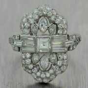 Vintage Art Deco Engagement And Wedding Ring 2.25 Ct Diamond 14k White Gold Over