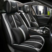 Universal Deluxe Pu Leather 5-seats Car Seat Cover Front Rear Cushion+pillow Set