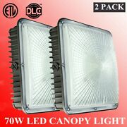 2pc Led Canopy Light 70w For Warehouse Gas Station Carport Square Celling Light