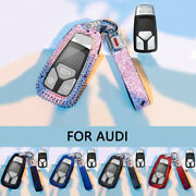 For Audi A4 A5 S4 S5 Q5 Q7 Tt Diamond Leather Car Remote Key Shell Cover Case