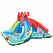 Inflatable Water Slide Crab Theme Bouncer Park With Double Slides Without Blower