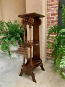 19th Century Antique French Breton Brittany Carved Oak Tall Plant Display Stand