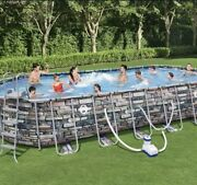 Coleman 26andrsquo X 12andrsquo X 52andrdquo Power Steel Oval Above Ground Swimming Pool Wifi Pump.