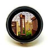 Antique Micro Mosaic Roman Ruins 14k Solid Yellow Gold Ring Size 4.75