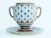 Antique Mettlach Villeroy And Boch Punch Bowl And Charger
