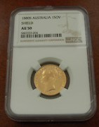 Australia 1880s Gold Shield Sovereign Ngc Au50 Inverted A For V In Victoria