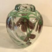 Art Glass Orchid Flower Vase Paperweight Unsigned Heavy