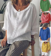 Womens Flax Linen Comfy Long Sleeve Tops Pullover Blouses Collar Summer Loose Sz