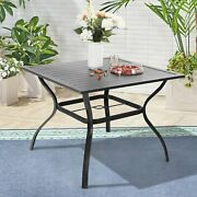 37 Outdoor Dining Table Metal Slat Kitchen Desk With 1.57 Patio Umbrella Hole