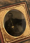 Armed Civil War Soldier, Revolver, Bayonet, Painted Gold Buttons. 1/6 Tintype