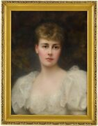 Portrait Of A Young Lady Antique Oil Painting Edward Hughes British, 1832-1908