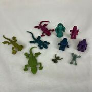 Vintage Small Rubber Toy Figurines Lot Of 10 - Robots And Lizards