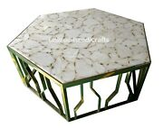 White Agate Center Hexagon Dining Table Top Well Finished Beautiful Home Decor