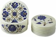 White Marble Top Coaster Set And Holder Lapis Inlay Floral Design Christmas Gift