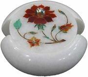 White Marble Tea Cup Holder Coaster Set Carnelian Inlaid Floral Work Gift Her