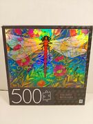 Red Dragonfly Floral Foil Effet Metallique 500 Pieces Mb Puzzle 24 X 18 New