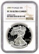1997-p Proof American Silver Eagle One Dollar Coin Ngc Pf70 Uc