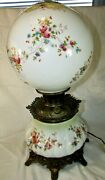 Antique 1800s Gone With The Wind Hand Painted Lamp Oil Converted To Electric