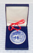 Royal Copenhagen Blue 1987 On Christmas Pond 2 Round Ornament In Box Excell.