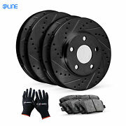 [complete Kit] Black Drilled Slotted Brake Rotors And Ceramic Pads Cbc.6605702