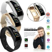 Bluetooth Smart Watch Pedometer Fitness Tracker Headset Handsfree For Cell Phone