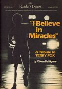 Terry Fox Tribute Reader's Digest March 1981 I Believe In Miracles