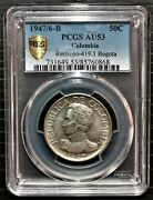 Certificate Coin Silver 50 Centavos 1947/6-b Colombia Pcgs Au53 Restrepo-419.1