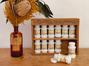 Set Of 12 Vintage Milk Glass Spice Jars With Rope Edge In Wooden Celestial Box