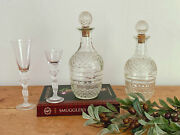 Vintage Pressed Glass Liquor Bottle Decanters With Facetted Round Stopper