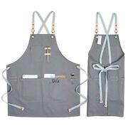 Cotton Apron For Men Women Chef Bbq Grill Work Shop Aprons With Grey 43