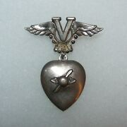 Original Us Home Front Usaaf Sterling Victory Wings Sweetheart Pendant Brooch
