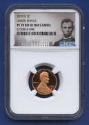 2010 S 1c Lincoln Union Shield Cent Penny Ngc Pf70 Rd Ultra Cameo Portrait Label