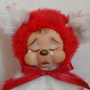 Rushton Rubber Faced Crying Teddy Bear Rare Red And White Vintage Plush Doll