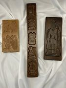 3 Antique Wooden Hand Carved Gingerbread Stylecookie Baking Mold Animals Man