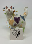 Amy Lacombe 2002 Annaco Creations Whimsical Cat With Hearts, Signed