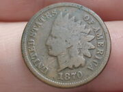 1870 Indian Head Cent Penny- Vg Details, Bold N