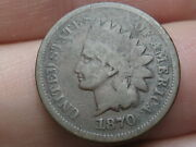 1870 Indian Head Cent Penny- Bold N, Vg Details