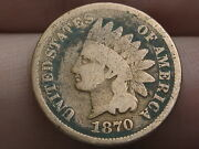 1870 Indian Head Cent Penny- Good/vg Details, Bold N