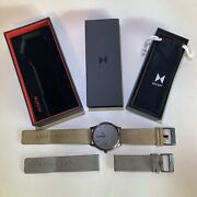 Pre-owned Mvmt Watch With Beige+grey Straps Included