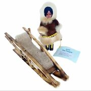 Alaska Inuit The People Handcrafted Collectible Eskimo Doll W/ Snow Sled
